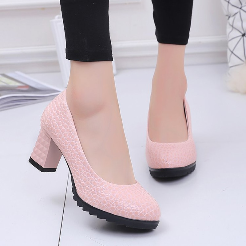 Rimocy Elegant Thick High Heels Pumps Women Fashion Solid Color PU Leather Party Wedding Shoes Woman Shallow Mouth Female