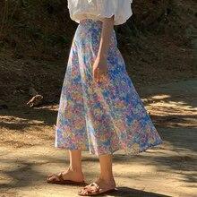 retro purple floral printed women skirt 9212#