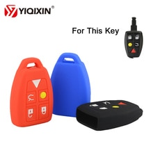 YIQIXIN 5 Button Silicone Remote Car Key Cover Protector Accessories Rubber Fob For Volvo S40 V50 V7