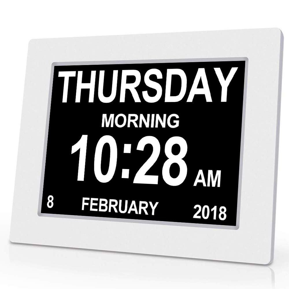 LED Digital Clock Calendar Day Home Decor Day/Week/Month/Year for Adolescent/ Elderly Dementia/Vision Impairment Support Night