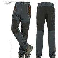 FALIZA 5XL Mens Winter Pants Warm Fleece Inner Waterproof Breathable Softshell Trousers Stretch Casual Male Cargo Pants PA60
