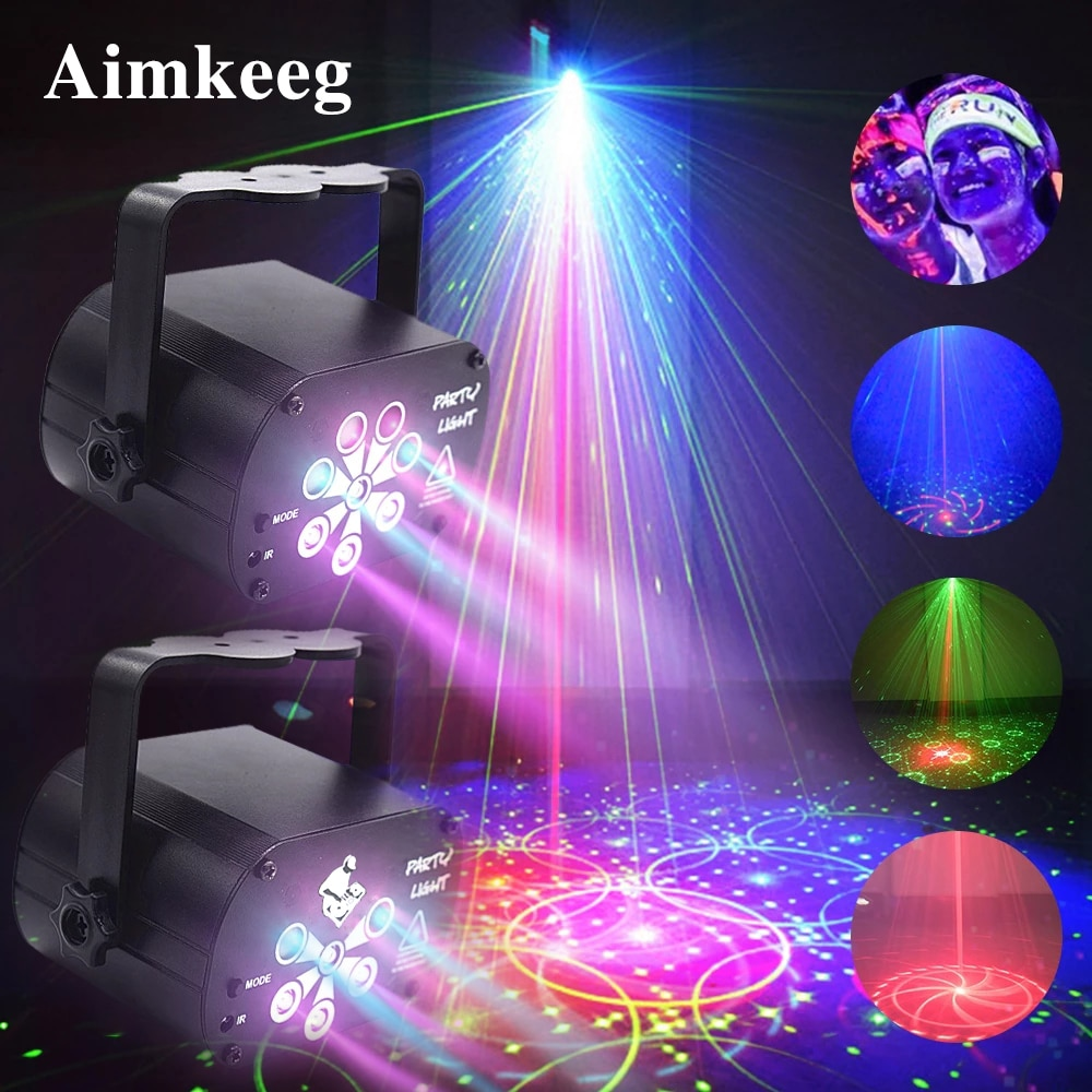 2021 مصباح ديسكو LED مع التحكم الصوتي ، ضوء المرحلة ، جهاز عرض ليزر ، مصباح حفلات ، DJ منزلي ، عرض ليزر