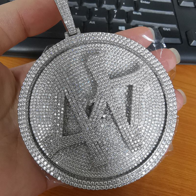 P&Y Custom Hot Selling Hip Hop Iced Out 44 Pendant White Gold Full Iced Out 44 Spinning Pendant For Men Jewelry