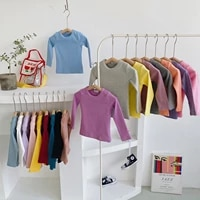 kids clothes fall clothes for kids solid t shirt boy girl warm top fashion clothes cotton drop shipping kids top girls 3 to 8