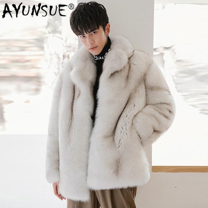 Ayunsu 2020 جديد معطف الفرو الحقيقي الرجال الشتاء سترة الطبيعية الثعلب الفراء معطف جودة عالية الدافئة جاكيتات معاطف 18289 KJ3312