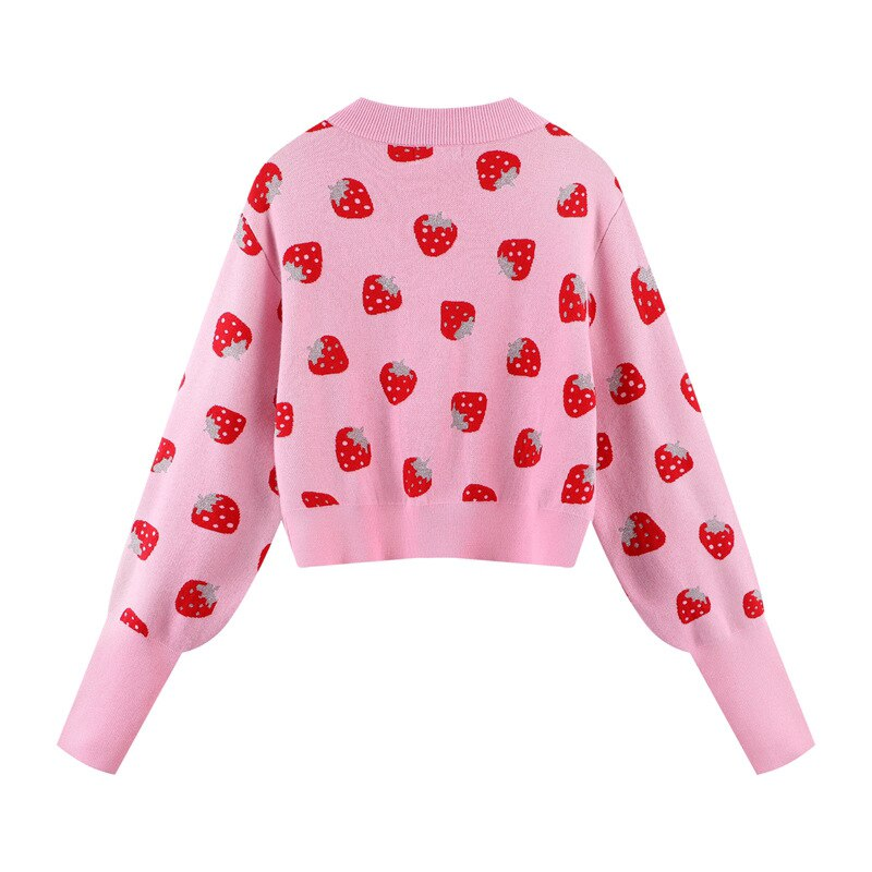 2021 New Spring Autumn Strawberry Print Women Cardigans Sweater Fashion Slim Ladies Knitted Sweater Korean Style Female Tops enlarge