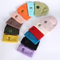 winter knitted cap s embroidery unisex hat acrylic beanie solid autumn breathable for adult men warm casual lady skullcap soft