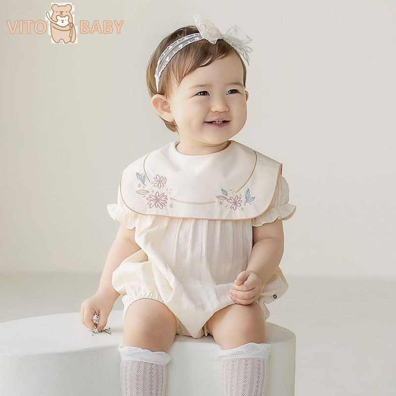 VITO bebé recién nacido mameluco bordado Niña ropa bebé niña mameluco 1er cumpleaños fiesta princesa ropa niño mono