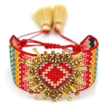 Go2boho MIYUKI 3D coeur Bracelet bohème Bracelets Pulseras Mujer Moda 2019 femmes brassard bijoux Boho Chic à la main métier à tisser perles