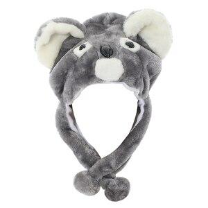 JOYHY Kids Boys Girls Cute Plush Earflap Gray Koala Animal Hats Teenagers Halloween Party Christmas Winter Warm Beanie Caps
