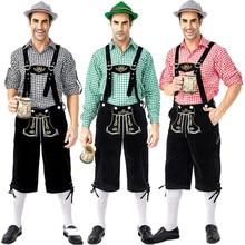 Deluxe mężczyzna Oktoberfest skórzane spodnie kostium 3 sztuk/zestaw niemiecki bawarski festiwal piwa męskie Cosplay Halloween ubrania imprezowe