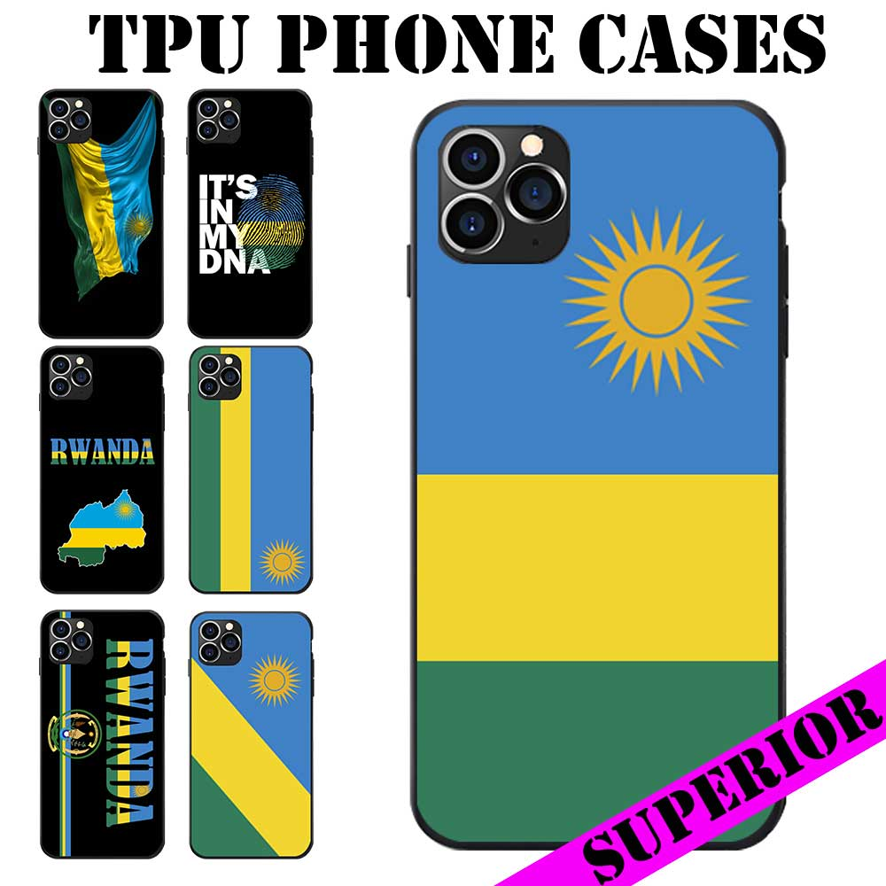 Bandera Nacional de Ruanda Escudo de Armas tema suave TPU teléfono casos cubierta imagen Logo para iPhone 6 7 8 S XR X Plus 11 Pro Max