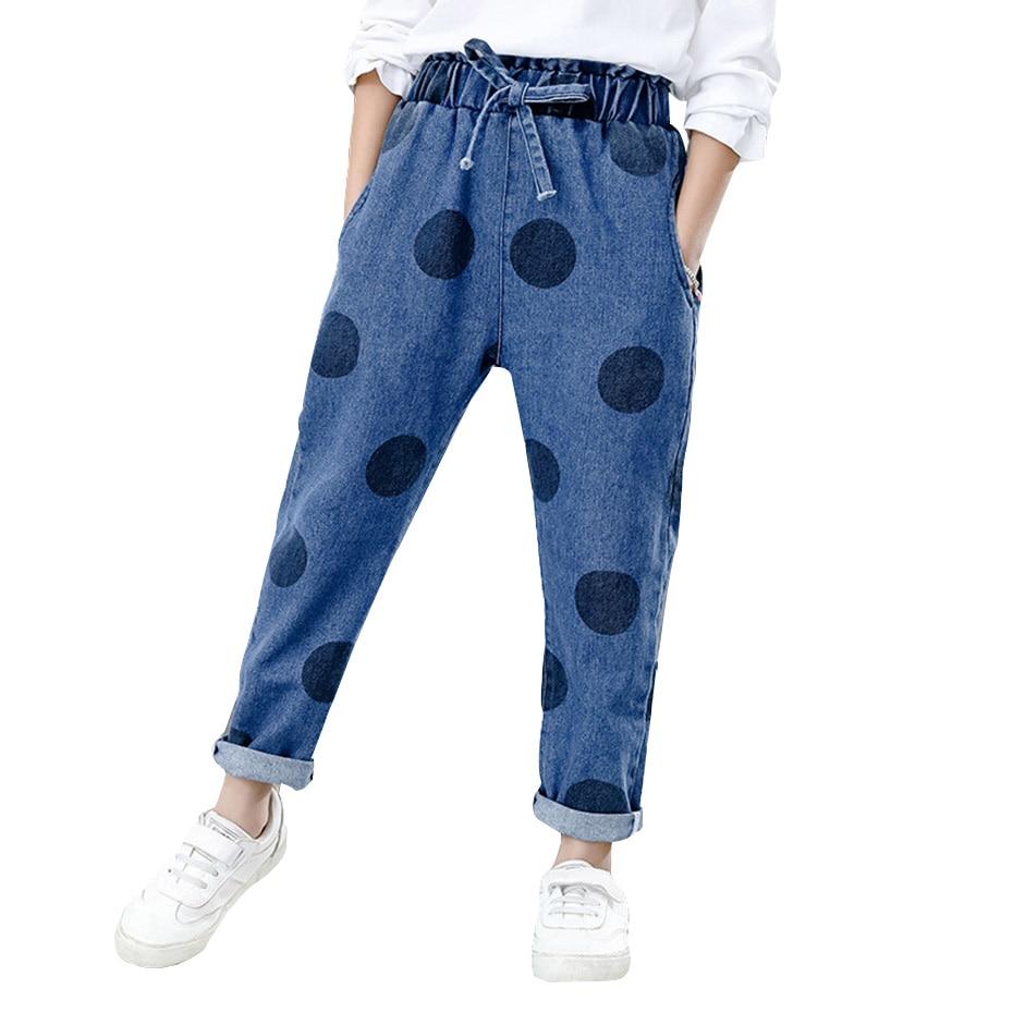 Весенние джинсы для девочек детские в горошек с эластичным поясом повседневные