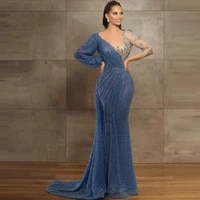 mermaid wedding evening dresses with long sleeve for woman sexy v neck pleat beading lace bridal prom gown %d0%bf%d0%bb%d0%b0%d1%82%d1%8f %d0%bd%d0%b0%d1%80%d1%8f%d0%b4%d0%bd%d1%96