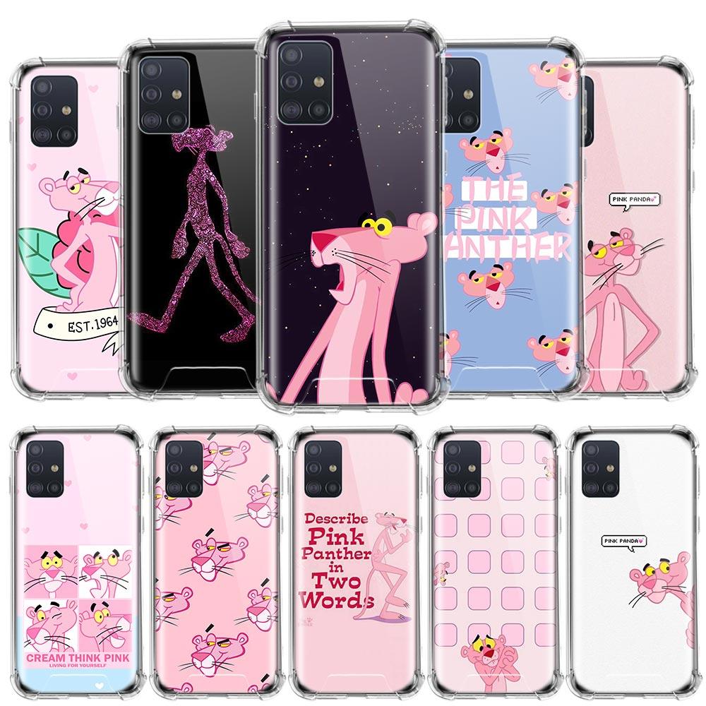Funda divertida Pantera Rosa para Samsung Galaxy A51 A71 A01 A21 M31 A91 S20 Ultra 5G Airbag funda de teléfono TPU anticaída