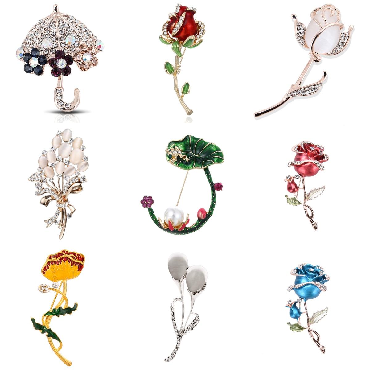 Flor do vintage rosa tulipa guarda-chuva orquídea strass pinos e broches para mulheres colar lapela pinos distintivo broche jóias femininas