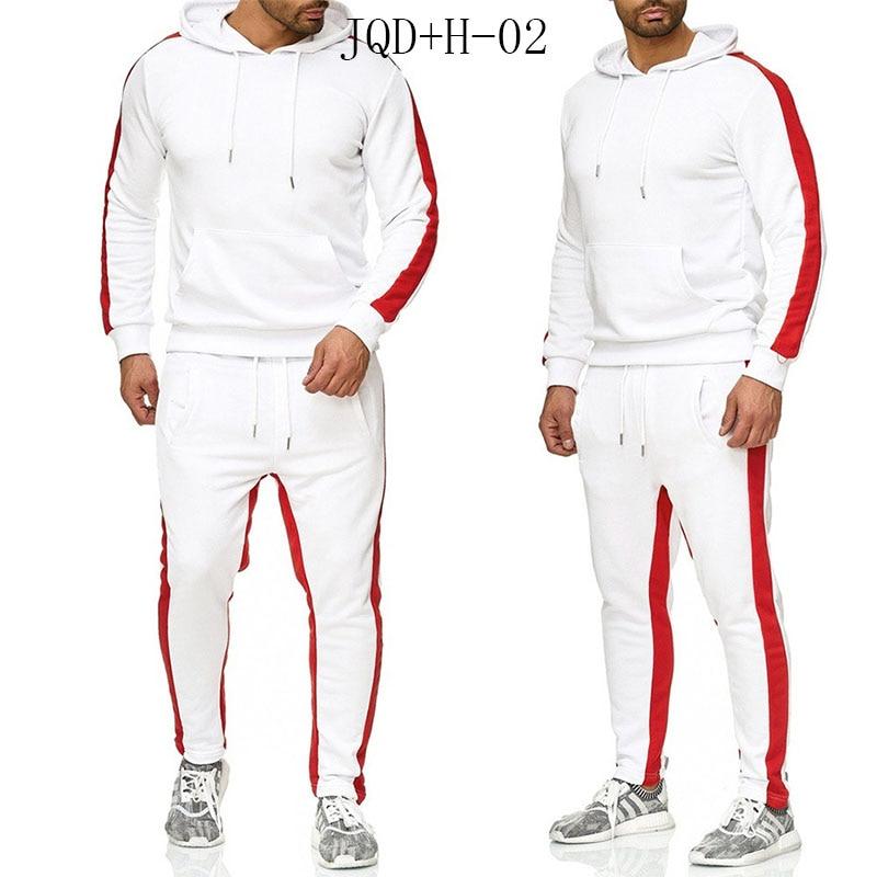JQD + H-02 ropa de marca de moda para hombre chándal de Patchwork Casual Sportsuit hombres sudaderas con capucha ropa deportiva abrigo + pantalón conjunto de hombres