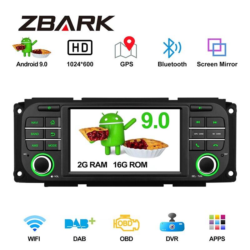 """5 """"Android 9,0 auto Radio estéreo reproductor para JEEP grand cherokee Liberty Wrangler para Chrysler para Dodge navegación GPS YHJPMTK01"""