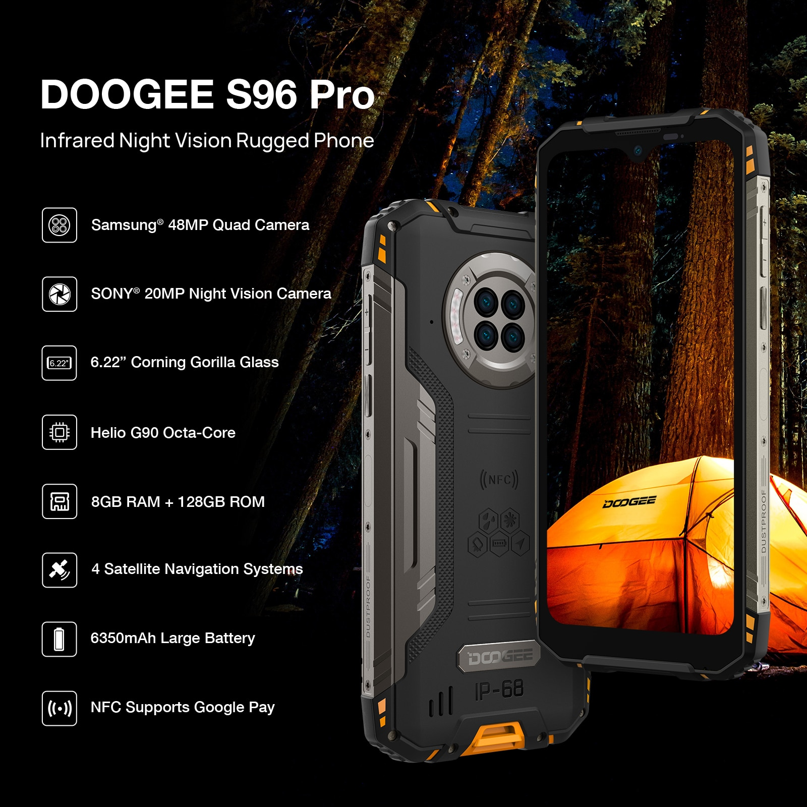 DOOGEE S96 Pro mobile phone Smartphone 48MP Round Quad Camera 20MP Infrared Night Vision Helio G90 Octa Core 8GB+128GB 6350mAh enlarge