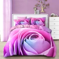 new arrival polyester bedding set 3d print blooming rose floral duvet valentines day gift bed linen 23pcs pillowcase bedcloth