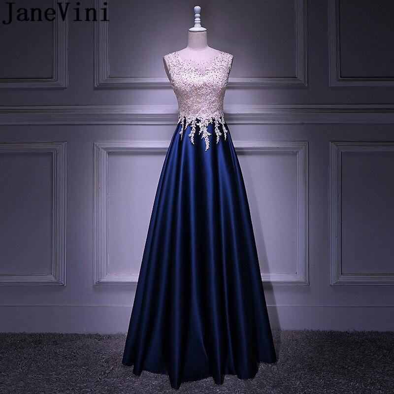 JaneVini-Vestido largo elegante con cuentas para dama de honor, apliques de encaje,...
