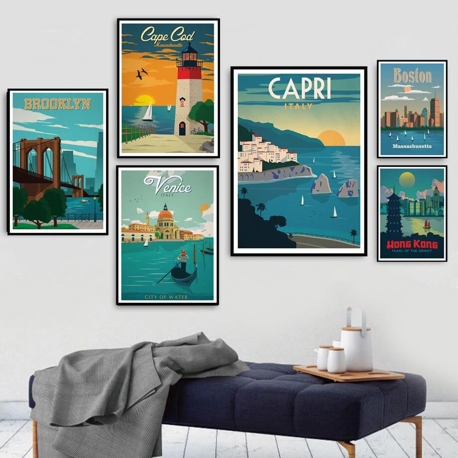 Póster impreso de Nueva York, Londres, Amsterdam, Venecia, ciudades de viaje, lienzo artístico de paisaje, pintura de pared, imágenes, sala de estar, decoración del hogar