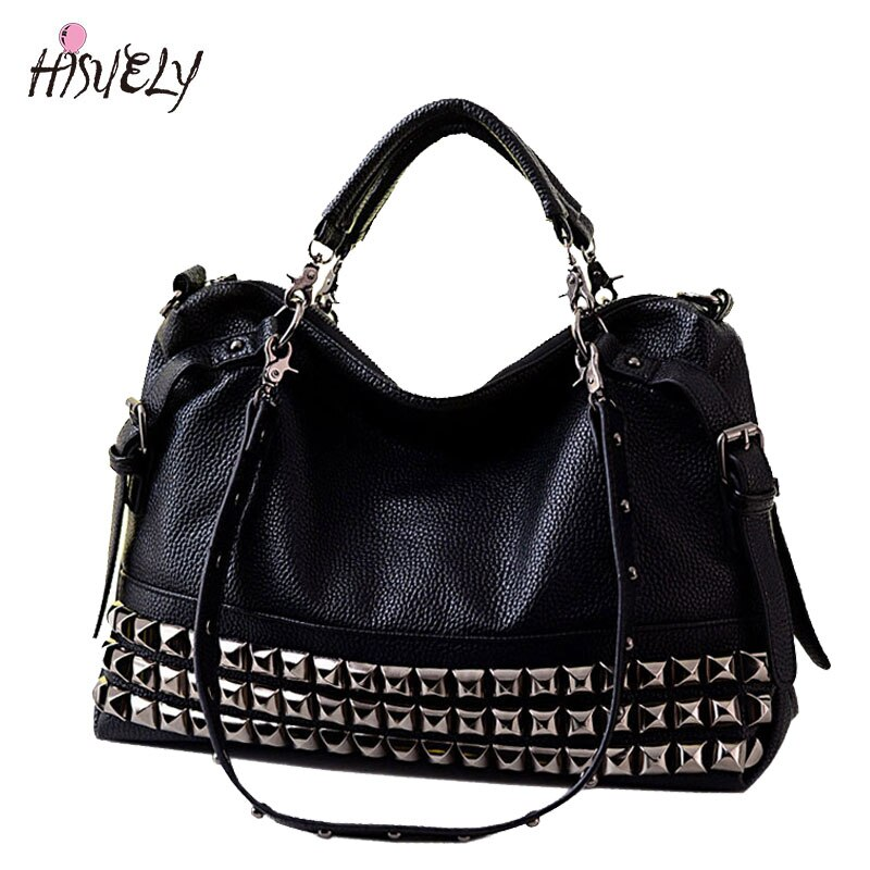 New Fashion Women's Fashion Handbag Motorcycle Bag Rivet Shoulder Bag Female Handbag Large Bag Messenger Bags BAGM6185