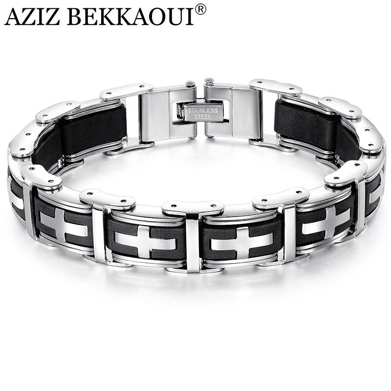 AZIZ BEKKAOUI, pulseras cruzadas de silicona con magnetita de acero inoxidable negro para hombres, pulsera y brazaletes magnéticos saludables, joyería masculina