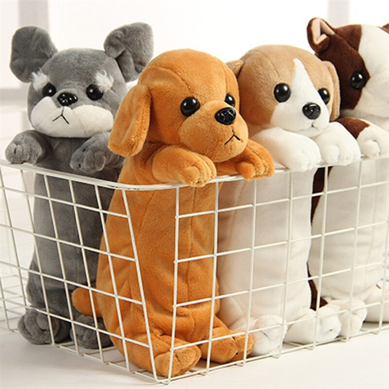 Lindo perro Husky de peluche de juguete lápiz caso muñeca cachorro Schnauzer muñeca escuela Oficina suministros lápiz caso regalo para niños