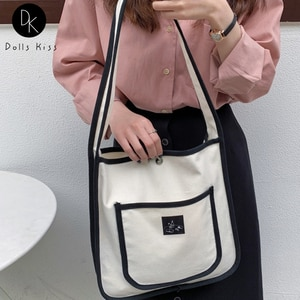 Ladies Canvas Shopping Bag Female Simple Hit Color Design Color Shoulder Bag Women Casual Crossbody Bag Student Book Tote Bag