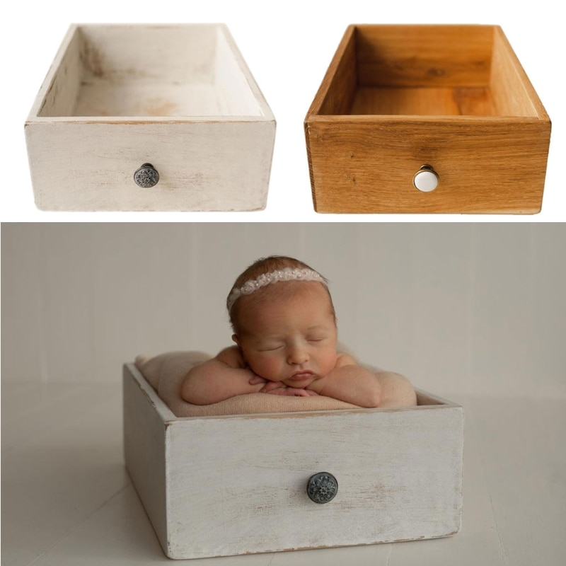 newborn baby photography Newborn Photography Props Furniture Safe Vintage Baby Wooden Drawer Frame Newborn Baby Studio Photo Photography Accessories