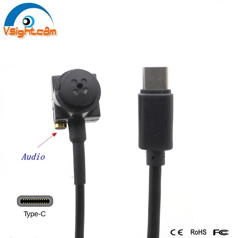 Mini cámara USB 15*15mm 720P Tipo C Micro botón UVC CCTV con Audio utilizado para teléfono móvil Android