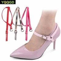 1pair womens shoe straps detachable pu leather shoe strapshigh heels anti loose shoelace band for high heeles shoelace