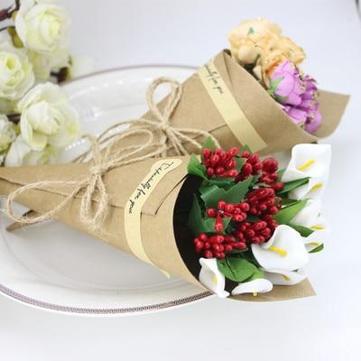 50/100 Uds. DIY hecho a mano Kraft cajas de papel para dulces con cuerda etiqueta Cucuruchos para flores titular helado boda Mesa decoración caja de regalo para fiestas