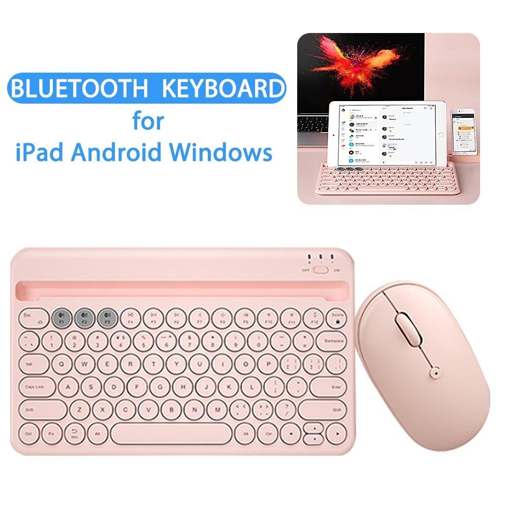 لوحة مفاتيح لاسلكية صغيرة لباد الهاتف اللوحي المحمولة بلوتوث لوحة المفاتيح والماوس مجموعة لسامسونج شاومي أندرويد الفئران مجموعة