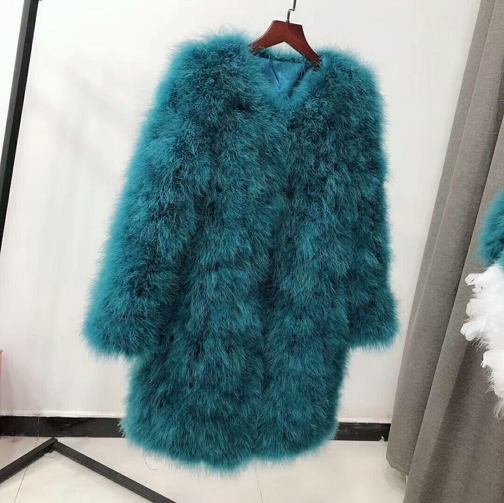 90cm, manga larga, más grueso, abrigo de piel de avestruz para mujer, Chaqueta larga de talla grande