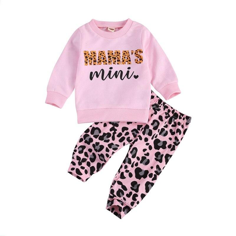 0-3Y Kinder Sport Kleidung Sets Trainingsanzug Herbst Brief Druck Kinder Tops Leopard Hosen Outfit Teenager Kinder Mädchen Kleidung