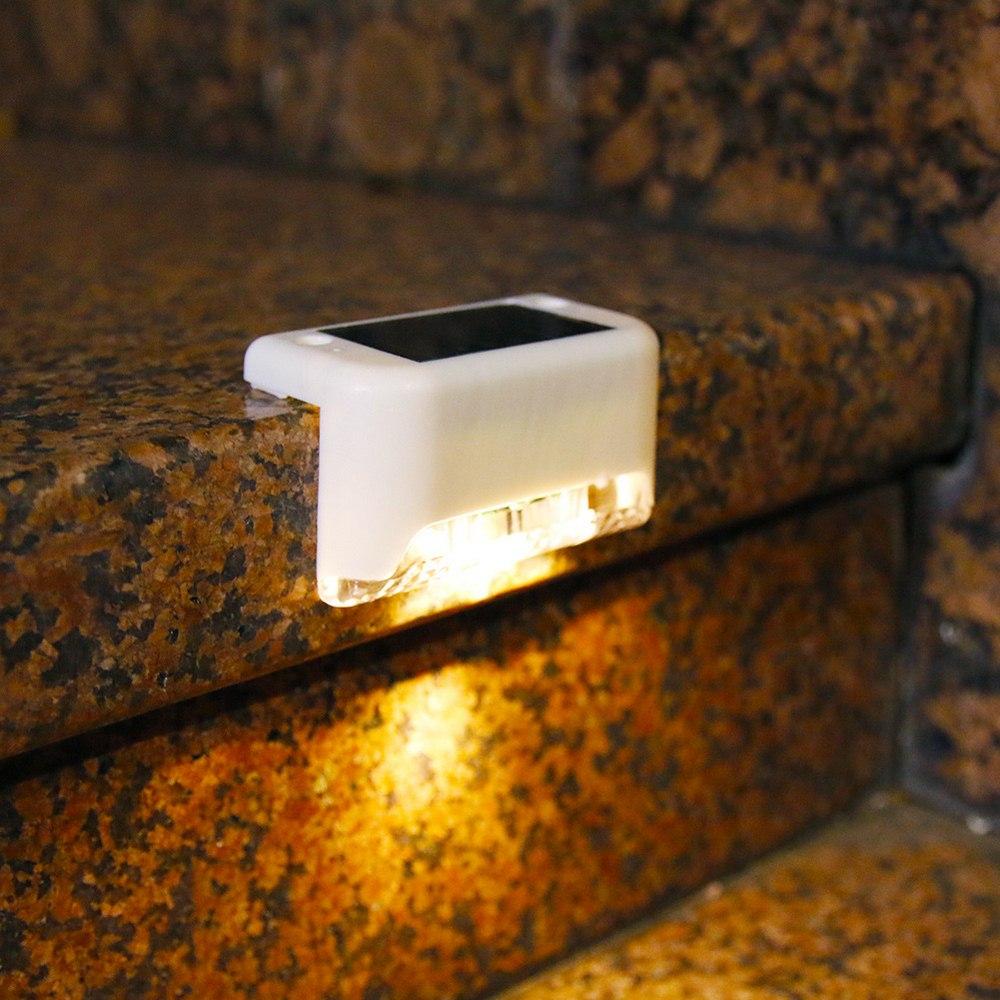 4 предмета в комплекте солнечной палубе огни Лестницы забор светильник светодиодный солнечный светильник Открытый Патио IP65 Водонепроницае...