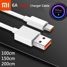 Original Xiaomi 6A Turbo Charger Cable Flash Charging Type C Line For Mi 11 10 10T Pro 5G 9 Poco M3