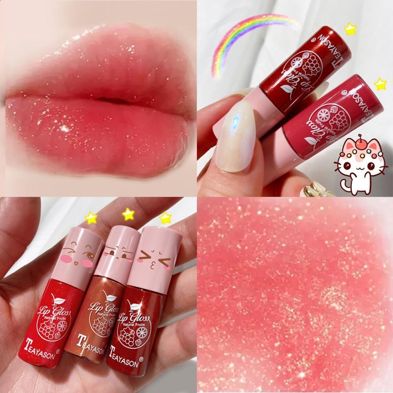 Color Transparent Lip Gloss Glistening Lip Gloss Glass Lip Wet Cherry Plumping Makeup Big Lip Gloss