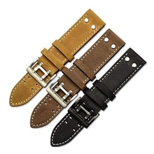 Handmade Vintage Crazy Horse Watch Strap Military Pilot Khaki Black Field Aviation Watch Band with S