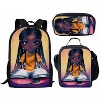 3pcsset children school bags black afro girl magic print boys girls student backpack book pencil mochia escolar