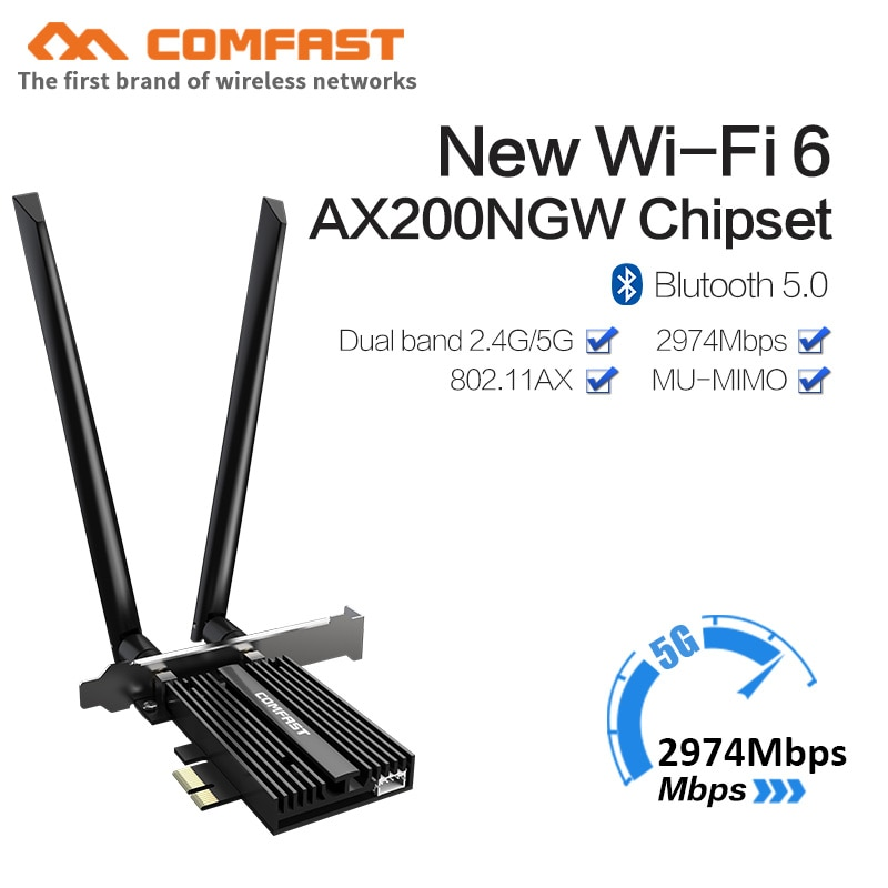 2974Mbps Dual Band Wireless Desktop PCIe For Intel AX200 Card 802.11ax 2.4G/5Ghz Bluetooth 5.0 PCI Express Wireless WiFi Adapter