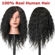 18 inch 100% Human Hair Hairdressing Mannequin Head Practice Model Long Curly Hair Salon Hair Practice Dummy Head
