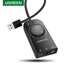 Ugreen tarjeta de sonido USB de interfaz de Audio de 3,5mm adaptador de Audio para micrófono tarjeta de sonido para portátil PS4 auriculares tarjeta de sonido USB