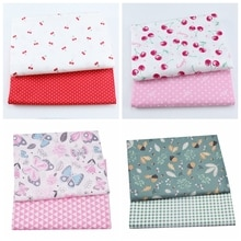 2pcs Pink Cherry Dot Floral Cotton Baby Child Fabric, Sewing Quilting Fat Quarters Textile Fabric Fo