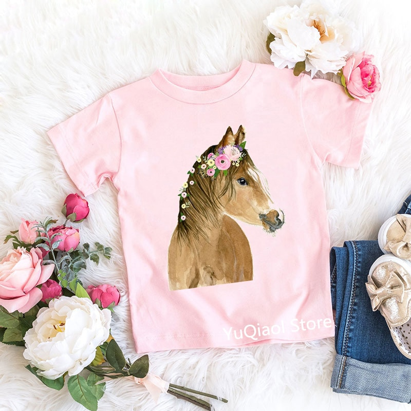 Cute baby girls t shirt pink tshirt floral horse/Teddy/flamigo/rabbit/bear animal print harajuku kaw