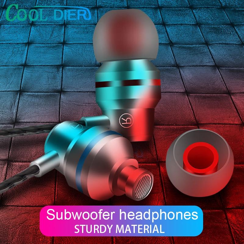 Bien DIER con cable Auriculares auriculares de 3,5mm Jack en el oído de deporte auricular estéreo con Supergraves auriculares con micrófono fone de ouvido