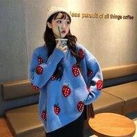 strawberry sweater women oversize knitted tops pullover korean style loose print jumpers long sleeve streetwear women sweater