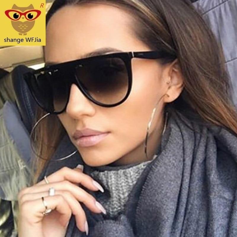 Oversized Sunglasses Women 2020 Brand Designer Retro lunette soleil femme Big Frame Flat top Sun gla